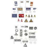 KESOTO 36 Piezas Señales de Tráfico de Simulación Juguete Imaginativo para Niños Accesorios de Casa de Muñecas