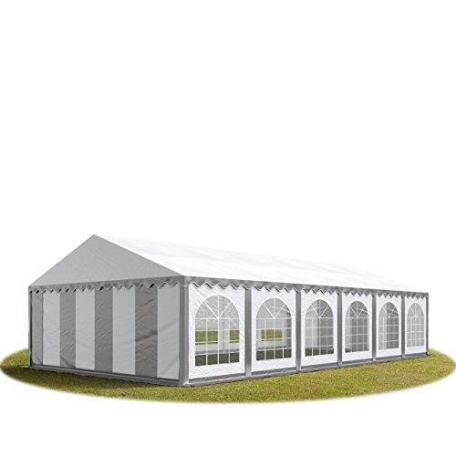 TOOLPORT Tente Barnum de Réception 6x12 m Premium Bâches Amovibles PVC 500 g/m² Gris-Blanc + Cadre de Sol Jardin INTENT24