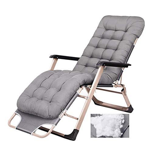 Hxx Klappbarer Gartenliegestuhl für schwere Beanspruchung - Verstellbarer Stabiler Stahlrahmen und tragbarer Stuhl mit klassischem Kissen für den Außen- oder Innenbereich, Tragkraft 200 kg,A (Klassischer Stuhl)