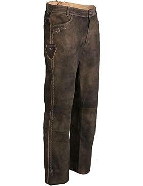 Spieth & Wensky Herren Trachten Lederhose lang dunkelbraun, braun,