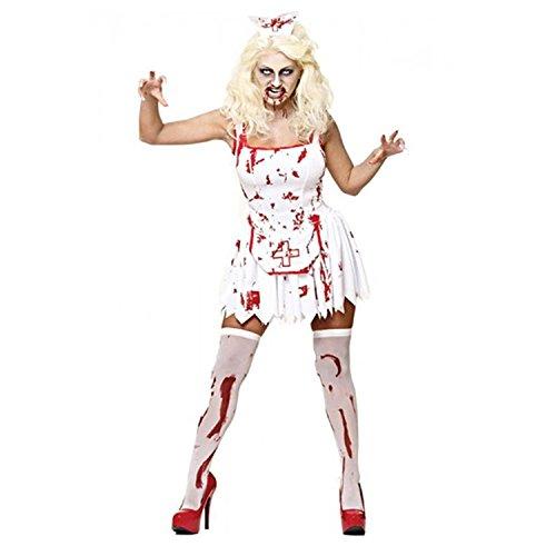 Kostüm Alice Im Wunderland Gruselige - MIXLOT Frauen sexy erwachsene blutige Krankenschwester und blutige Braut Halloween Kostüm furchtsame gruselige Kostüm Größe S-XL (Large, blutige Krankenschwester)