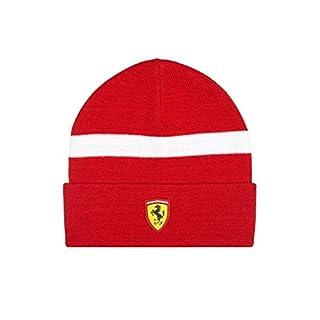 Ferrari Mütze Strickmütze mit Gesticktes Ferrari Logo, 2017Serie, offizielles Lizenzprodukt, Rot