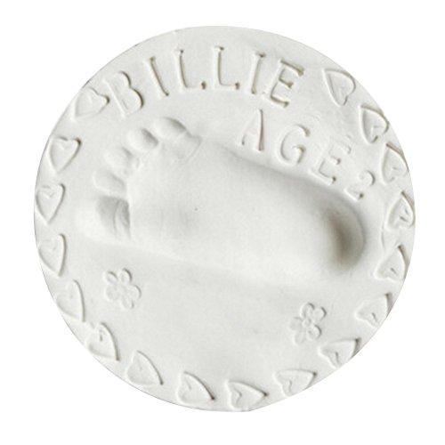MMLC Baby Magic für 3D-Abdruck in dekorativer Metall-Geschenkbox, Hand oder Fußabdruck zum aufstellen, rund (White) -
