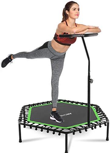 ANCHEER Fitness Trampolin,Erwachsene/Kinder Indoor/Outdoor Jumping Trampoline, Leise Gummiseilfederung, Höhenverstellbarer Haltegriff Mit Springende Matte (Gruen)