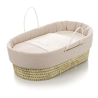 Capazo bebé BEIGE. Moisés BORDADO. Incluye: Vestidura+Colchita+Funda almohada y Colchón. Interior de mimbre con asas.964251-86 BEBELOVERS