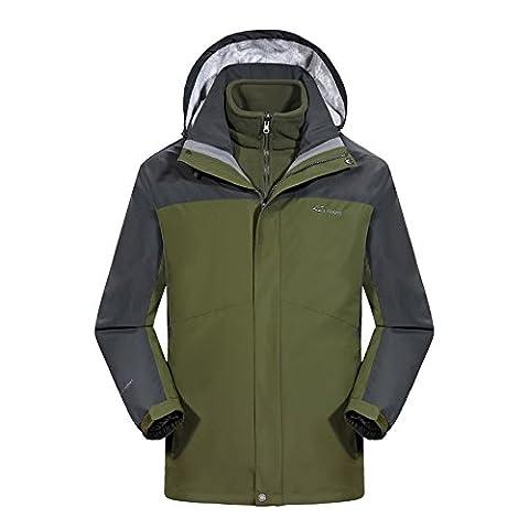 LAYNOS Waterproof Jacket Raincoat Men Sportswear 2017 New Design Outdoor Hooded Softshell Jackets XXXXX-Large Green