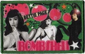 "BETTIE PAGE Bomb, Officially Licensed Original Artwork, Premium Quality Iron-On / Sew-On, 3.75"" x 2.5"" Embroidered PATCH PIéCE"