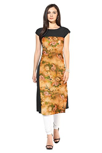 Ziyaa Multicoloured Boat Neck With Cap Sleeve Faux Crepe Digital Print Kurti  available at amazon for Rs.440