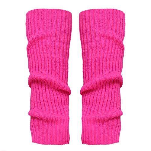 Stulpen Damen,1 Paar Mode Beinlinge Twist gestrickte Beinlinge Socken Boot Cover warme Leg Socken Teens Grobstrick Legwarmers(Hot Pink)
