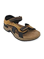 Woodland Mens Camel Leather Sandals