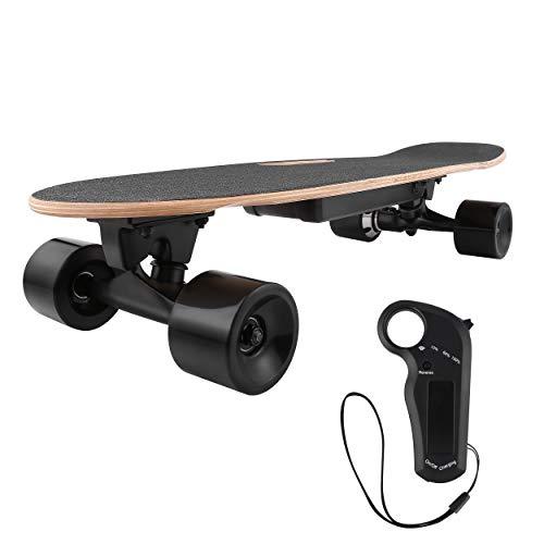 WeSkate E200 Mini-Elektro Skateboard Retro Skateboard mit Fernbedienung und Schubstartsystem, E-Board Mini-Skateboard mit Motor, Li-Ion 2,2 Ah/10-20km/h(2-Gänge), Best Geschenk
