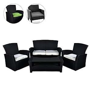 rattan set 4tlg mit glastisch wei garnitur. Black Bedroom Furniture Sets. Home Design Ideas