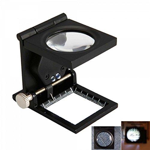 Sumchimamzuk 12 Fach Metall Klappbare LED Lupe Vergrößerungsglas Juwelierlupe Schwarz
