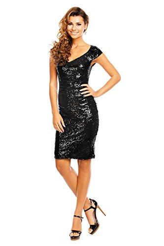 edles Paillettenkleid Glitzer Cocktailkleid Abendkleid mit Pailletten bestickt V-Ausschnitt vorne schwarz L - 2