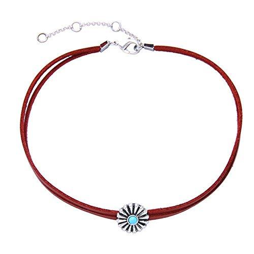 Hoveey Damen Vintage Choker Halskette Sonnenblume Dekoration Persönlichkeit Hippie Charm Schmuck Punk Leder Halskette für Freunde Liebhaber Geschenk (rot)
