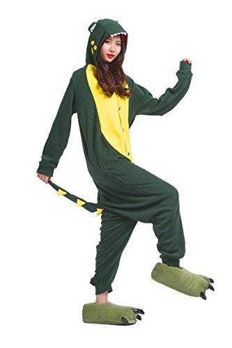 YUWELL Onesie Kigurum Animal Cosplay Onesie Jumpsuit Pajamas Pyjamas Costume Adult, Grünes Krokodil M (Height:160-170cm) (Miss Match Kostüm)
