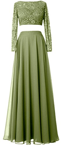 MACloth Gorgeous 2 Piece Long Sleeve Prom Dress Lace Chiffon Formal Evening Gown Olive Green
