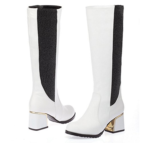 TAOFFEN Damen süße westliche Blockabsatz schuhe Mitte der Wade Ritter Stiefel lange Stiefel Weiß