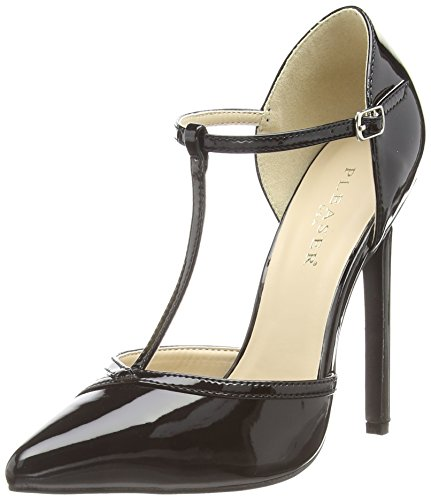 Pleaser  Sexy-27, Damen Pumps mit T-Riemen - Schwarz (Schwarz) - 37 EU ( 4 UK ) Sexy Classic Pumps