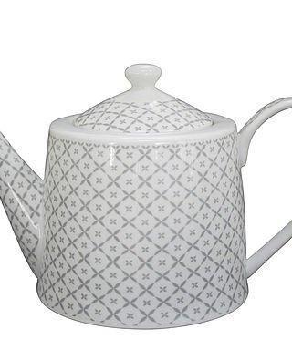 Krasilnikoff Théière Diagonal/motif floral gris clair