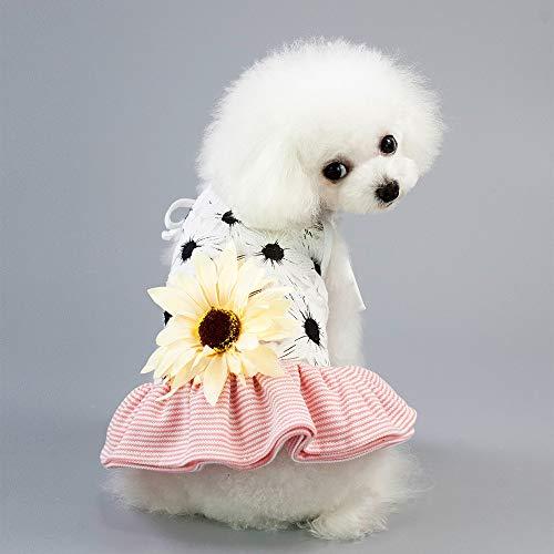 (LHY Small Dog Girl Dress, Princess Kleider Dresses Dog, Grid Rock für kleine Medium Pet Dog, Bowknot Prinzessin Kleidung für kleine Hundekater für den Sommer,Pink,L)