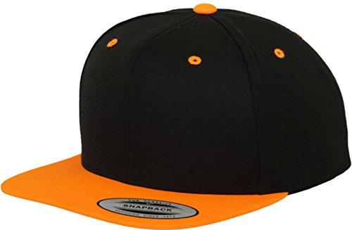 Flexfit 2 farbig Farbauswahl Cap Snapback Basecap Damen Herren (Neon OrangeRoyal)