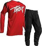 Thor Tuta Motocross da Corsa Sector-2020 MX Jersey e Pantaloni Moto off-Road Enduro Quad Tute Sport Racewear Camicia e Pants Fuoristrada Cross Racing Suit, Nero Rosso (Top- M,Pant-34)