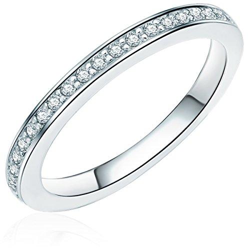 -Ring 925 Sterling Silber Zirkonia weiß - Silberring in Memoire-Form mit Zirkonia farblos Vorsteckring 608370670 (Ring Weiß Stein)