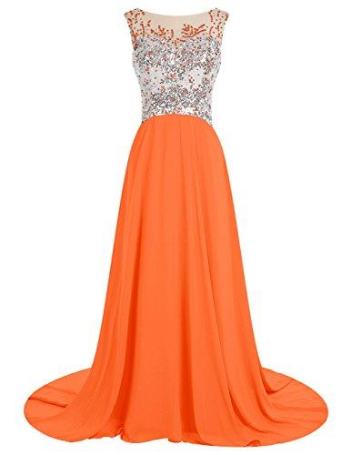 Dresstells Robe de cérémonie Robe de bal en mousseline emperlée traîne moyenne Orange