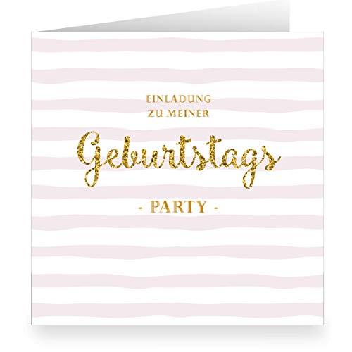 Set 24 x Rosa Mädchen Einladungskarte zur Geburtstags Party in Glitter Optik mit Innendruck zum Ausfüllen (15,5cm + Umschlag) Einladung zu meiner Geburtstags Party - Schulfreunde, Teenager