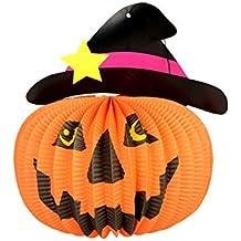 6fce3e62fc1c6 Set de decoración de Halloween Halloween Bar decoración Colgante Plegable  Sombrero de Calabaza de la lámpara