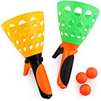 Yorten Click and Catch Twin Ball Game Catch Ball Games Indoor Outdoor Games pop & Catch Ball 2 Launcher Baskets Play Fun…