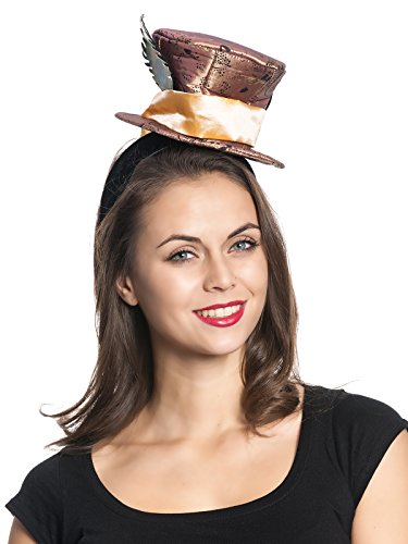 Alice in Wonderland Mad Hatter Fascinator Hut braun, Größe:onesize
