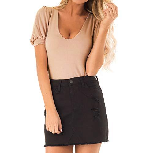 TWIFER Damen Einfarbig Kurz Sommer T Shirt Volant O Ausschnitt Design Kurzarm Shirt Bluse Tops
