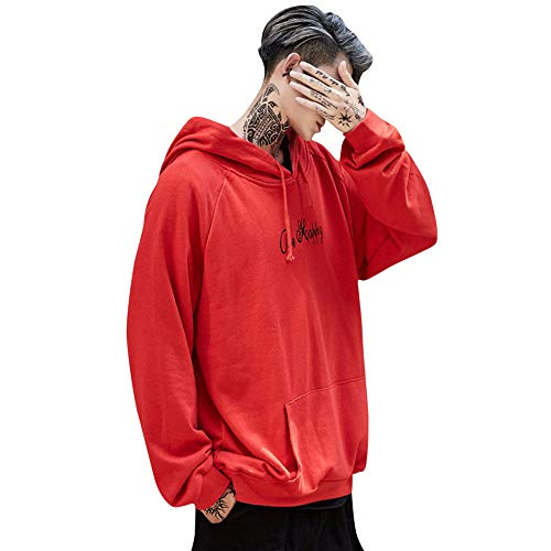 Bovake Herren Smiley-Gesicht Printed Sweatshirt Mit Kapuze Mantel Strickjacke Parka Jacke Pullover Hoodie Freizeit Tops Casual Longsleeve (Rot, 3XL) - Printed Long Sleeve Coat