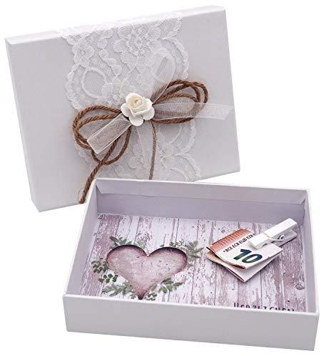 ZauberDeko Geldgeschenk MIRA Verpackung Vintage Weiß Hochzeit Hochzeitsreise Urlaub Geburtstag