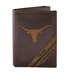 NCAA Texas Longhorns Zep-Pro Pull-Up Leather Trifold Embossed Wallet, Brown