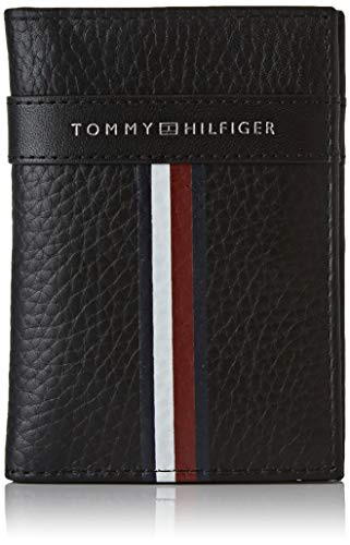 Tommy hilfiger corporate leather mini cc bifold, portafoglio uomo, nero (black), 1x1x1 centimeters (w x h x l)