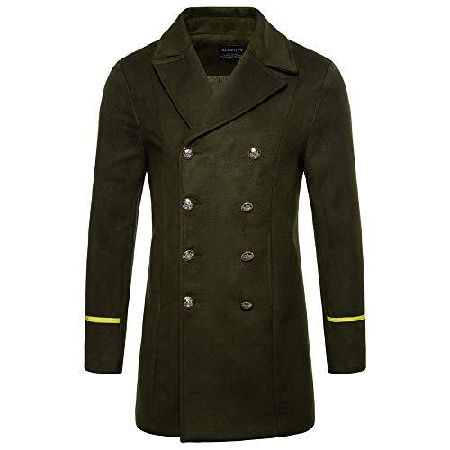 g star wollmantel TWBB Herren Warme Lange Schwarz Zweireiher Jacket Outwear Vintage Knöpfe Mantel Coat Lange Ärmel Mantel Hemd