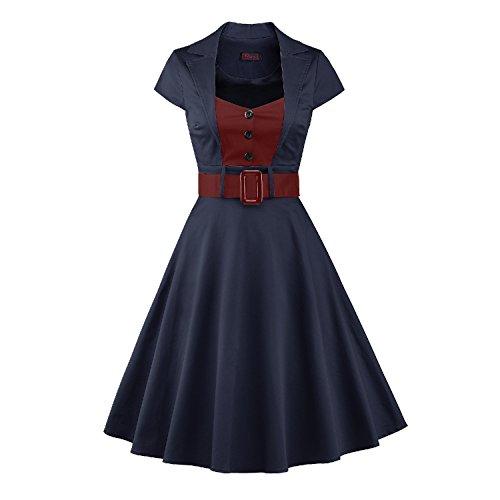 LUOUSE Damen Elegant Kurzarm V-Ausschnitt 40er 50er Retro Cocktailkleid Rockabilly Party Kleid,NavyBlue,L