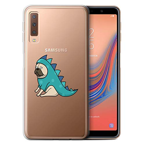 e/Case für Samsung Galaxy A7 2018/A750 / Dinosaurier Outfit Muster/Niedlich Mops/Hund Kollektion ()