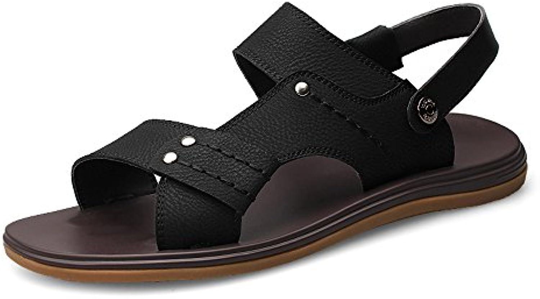 MXNET Zapatillas de Playa de Cuero, Espalda Abierta sin Respaldo Ajustable Casual Suela Antideslizante Zapatos...