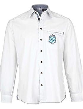 Spieth & Wensky Herren Trachten Hemd Do Bin i dahom mit Bayernwappen Weiss, Weiß,