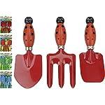 Pro Garden Junior Kids Metal Toy Gardening Study Hand Tool Set Trowel Spade Rake (Ladybird)