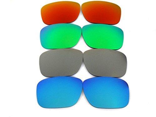 Galaxylense Ersatzgläser für Oakley Holbrook blau & grau & grün & rot Farbe Polarisierend,GRATIS S & H. 4 Paare - blau & grau & grün & rot