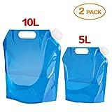 Aboat 2 pack 5 Litre and 10 Litre Faltbarer Wasserkanisterr, Wasserbehälter Trinkwasser Behälter für sport camping wandern picknick bbq