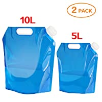 Aboat 2 Pack 5L/ 10L Water Carrier Folding Drinking Water Container, Outdoor Folding Water Bag Car Water Carrier Container for Sport Camping Hiking Picnic BBQ 26