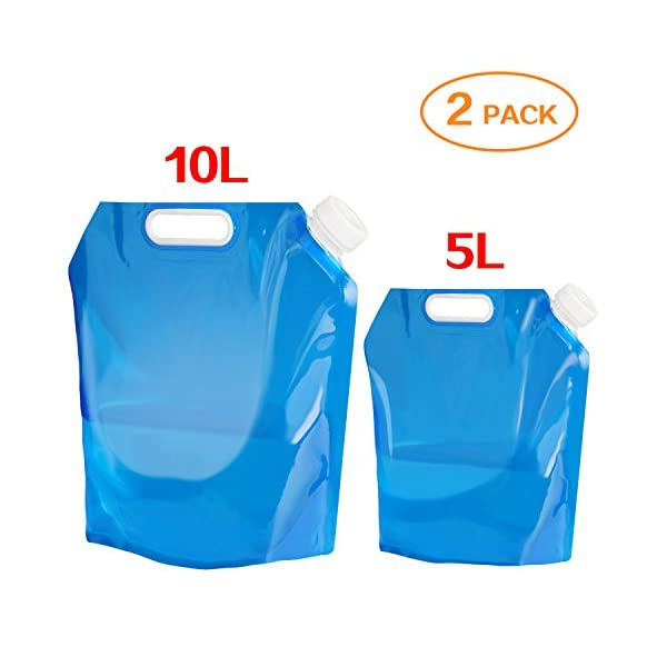Aboat 2 Pack 5L/ 10L Water Carrier Folding Drinking Water Container, Outdoor Folding Water Bag Car Water Carrier Container for Sport Camping Hiking Picnic BBQ 1