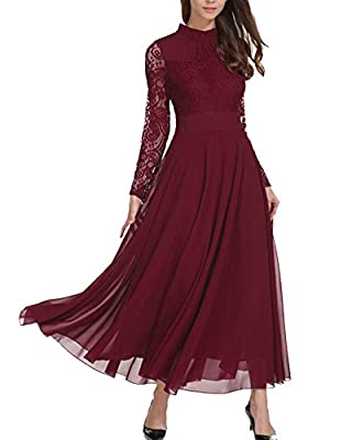 Aofur Plus Size Women's Chiffon Lace Long Prom Cocktail Ladies Maxi Evening Party Swing Dress