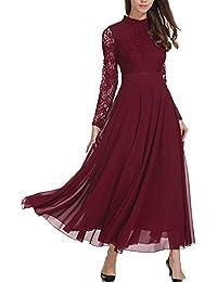867f5b6abef Aofur Plus Size Women s Chiffon Lace Long Prom Cocktail Ladies Maxi Evening  Party Swing Dress